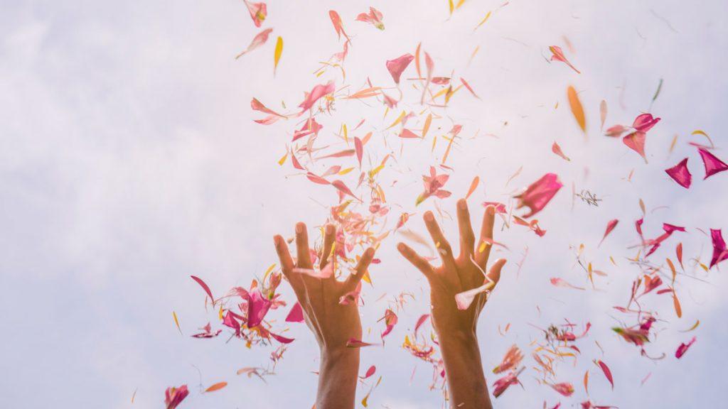 Female's hand throwing flower petals against sky in sunlight.