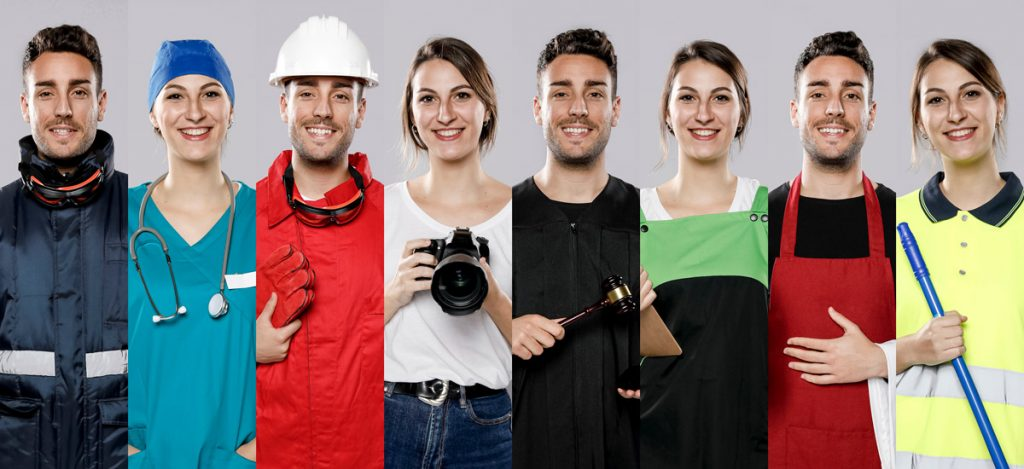 Front view of collection of men and women with different jobs.