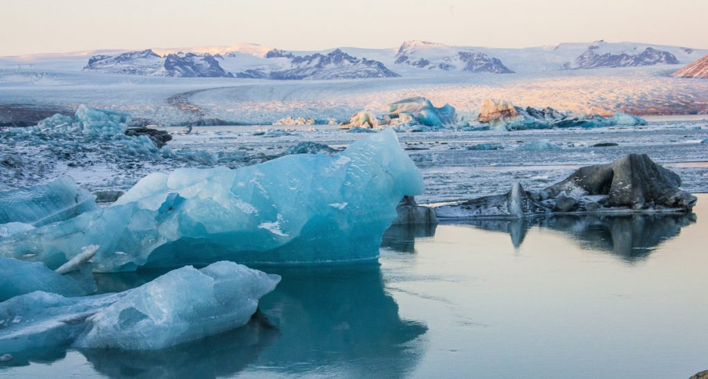 The icebergs near the frozen water in the snowy Jokulsarlon, Iceland.